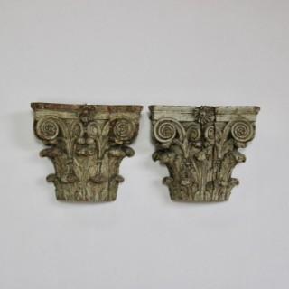 Fine pair of 19th cent Wooden Corinthian Capitals