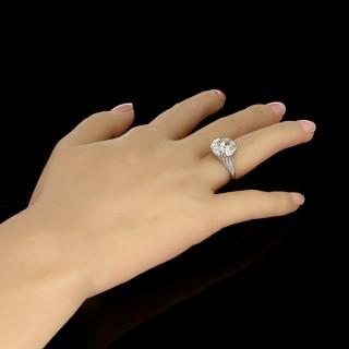 Hancocks 8.03ct Old European Brilliant cut Diamond Ring in finely pierced Diamond-set Mount