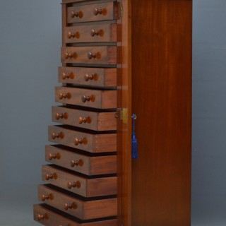 Early Victorian Figured Mahogany Collectors Cabinet