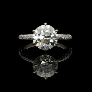 Hancocks 3.08ct Old European Brilliant Diamond Solitaire Ring with Pavé set Diamond band