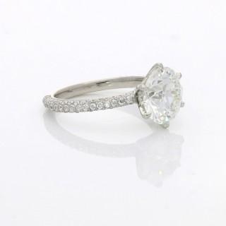 Hancocks 3.08ct Old European Brilliant Diamond Solitaire Ring with Pavé set Diamond band