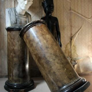 A Pair of Decorative Painted Faux Marble Plaster Plinths/Pedestals c.1890