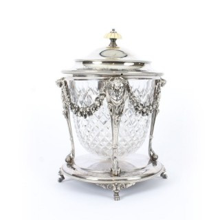 Antique Victorian Silver Plate & Cut Glass Biscuit Barrel by Elkington 19th C