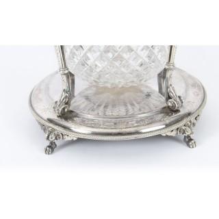 Antique Victorian Silver Plate & Cut Glass Biscuit Barrel by Elkington 19th C