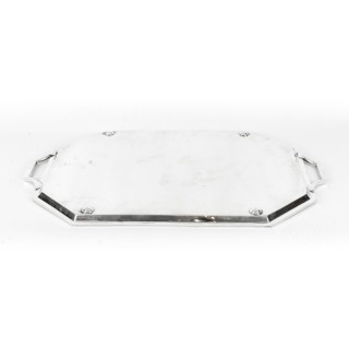 Antique Large Neo- Classical Silver Plated Twin Handled Tray C 1880 late 19th C