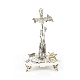Antique English Silver Plated Giraffe Desk Set James Deakin & Sons C 1880