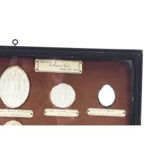 Antique Set 14 Framed Plaster Intaglios Medieval Seals Staunton Collection 20thC
