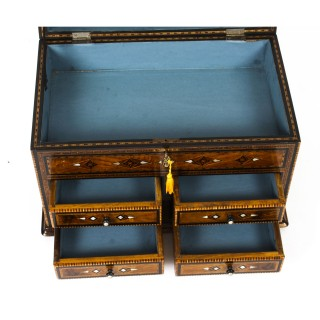 Antique Damascus Mother-of-Pearl and Specimen Wood Inlaid Table Chest 19th C