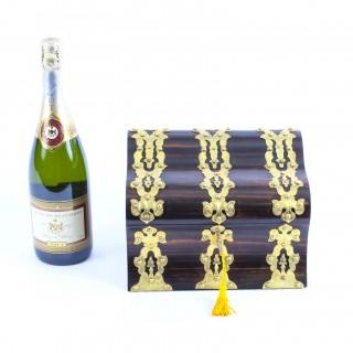 Antique Coromandel Gothic Revival Gilt Brass Strapwork Stationery Box 19th C