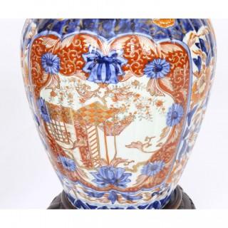Antique Large Pair Japanese Imari Porcelain Vases on Stands c. 1870 19th C.