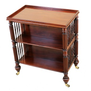 Rare Regency Mahogany Double Sided Freestanding Open Bookcase