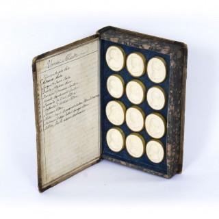 Antique Set 24 Book Framed Plaster Grand Tour Intaglios Emperors Artists 19th C
