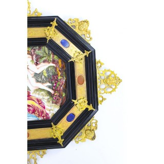 Antique Pair Italian Framed Capodimonte Porcelain Plaques 19th Century 51x45cm