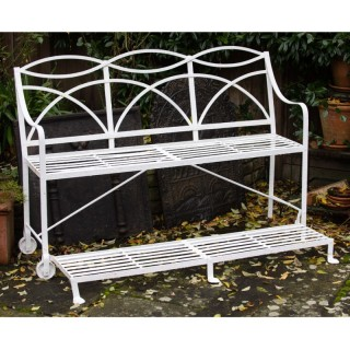 A 19th century English wrought iron Tennis  bench