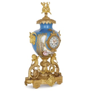Sèvres style gilt bronze mounted porcelain clock set
