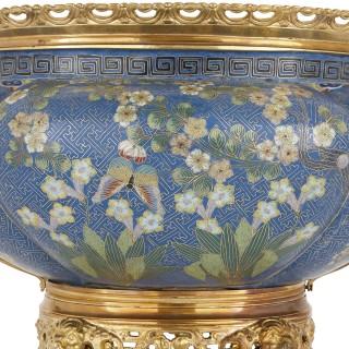 Antique gilt bronze mounted cloisonné enamel jardinière