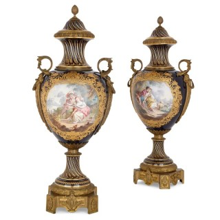Large pair of gilt bronze mounted Sèvres style porcelain vases