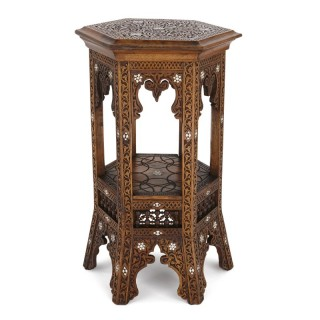 Moorish style carved hardwood side table with mother-of-pearl inlay
