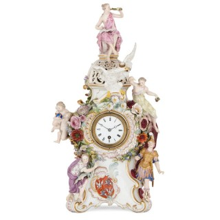Antique Rococo style porcelain mantel clock by Meissen