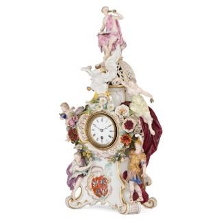 Antique Rococo style porcelain mantel clock by Meissen