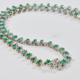 White Gold Diamond and Emerald Riviere Necklace 8.95 Carat