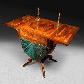 Regency Period Parquetry Inlaid Rosewood twin flap worktable