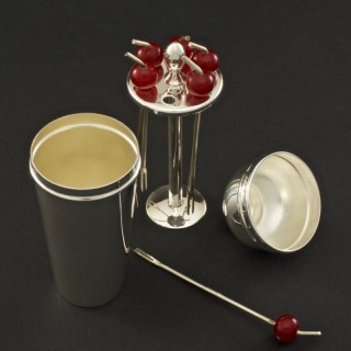 Cocktail Cherry Sticks in a Silver Plated Miniature Cocktail Shaker