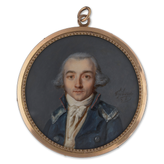 A Gentleman, wearing military-style blue cloak with silver 'epaulettes' and red-edged collar, white waistcoat and stock, his hair powdered, hoop earring