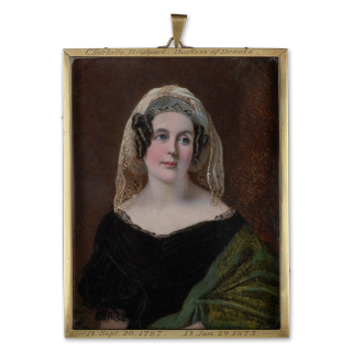 Charlotte Mary Hood (née Nelson), Baroness Bridport, Duchess of Bronte (1787-1873), niece of Admiral Viscount Nelson, wearing black velvet dress trimmed with black lace, green 'Kashmir' shawl and 'turban' headdress