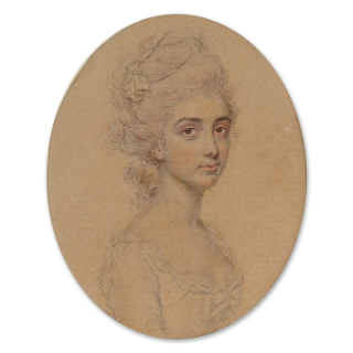 A Noblewoman, wearing dress with low-cut bodice, her powdered hair dressed with silk ribbon