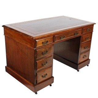 Victorian Walnut Pedestal Desk