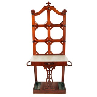 Victorian Mahogany Marble Top Hall Stand