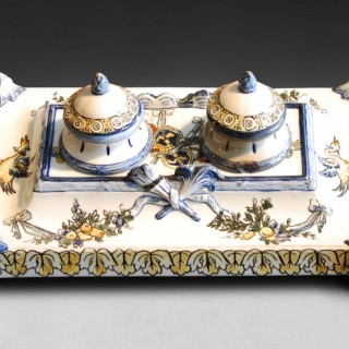 Faience ware Desk Piece from the Gien Factory, Renaissance Dragon pattern