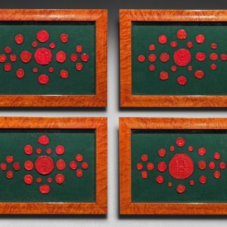 19th Century Framed Collection of 84 Red Wax Seals