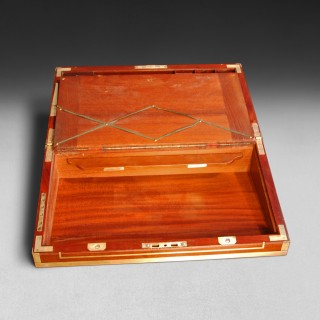 Regency Period Mahogany and Brass Bound Campaign Writing Box