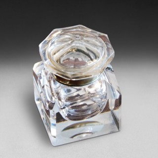 19th century large, square glass inkwell with chamfered edges