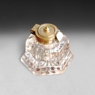 Large Victorian Hexagonal Glass Inkwell