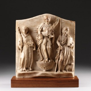 Finely Carved Netherlandish Alabaster Devotional Relief Depicting Saint Agnes of Rome