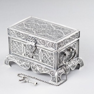Fine Indo-Portuguese Silver Filigree Rectangular Flat Topped Casket on Four Bracket Feet