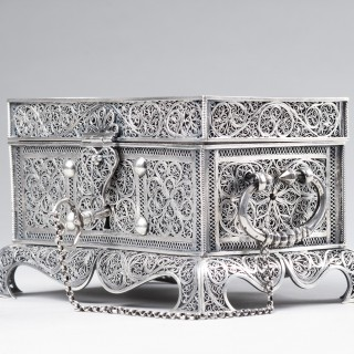 Fine Indo-Portuguese Silver Filigree Rectangular Flat Topped Casket on Four Bracket Feet