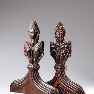 Rare Pair of Late Gothic English 'Poppy' Head Carved Oak Pew Ends