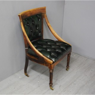 Georgian IV Oak and Green Leather Library Chair