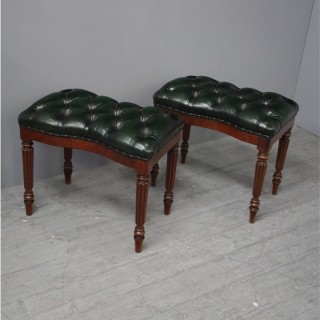Pair of Mahogany Stools from Alnwick Castle