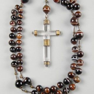 German Long Banded Agate and Filigree Silver Rosary with a Pendant Carved Rock Crystal and Silver Gilt Mounted Crucifix