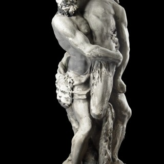 Baroque Bentheim Sandstone Mythological Sculpture of the God Hercules Wrestling the Giant Antaeus