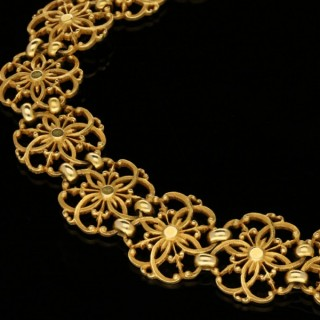 Gothic revival gold openwork bracelet by Wiese, circa 1885.