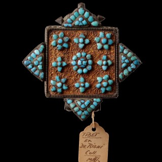 Two Tibetan Silver and Turquoise Floral Pattern Encrusted Filigree Amuletic Buddhist Prayer Boxes