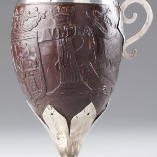 A Rare South American Silver Mounted Coconut Drinking Cup