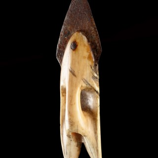 Bering Strait Inupiak Eskimo Walrus Ivory and Iron Toggling Harpoon Head