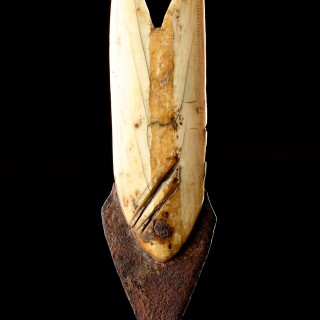 Bering Strait Inupiak Eskimo Walrus Ivory and Iron Toggling Harpoon Head